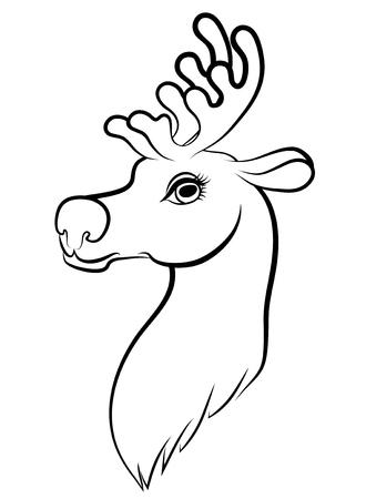 muzzle: Vector illustrations of contour cartoon Christmas muzzle reindeer Illustration