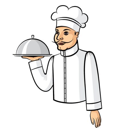 cocina caricatura: Vector illustrations of cartoon cook with a tray