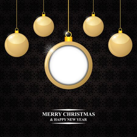 congratulatory: Vector illustrations of Christmas congratulatory card with hanging gold balls on decorative dark background Illustration