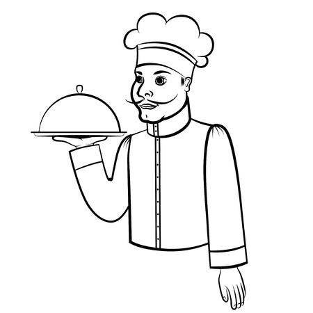 hombre caricatura: ilustraciones de vectores de dibujos animados contorno de cocina con una bandeja Vectores