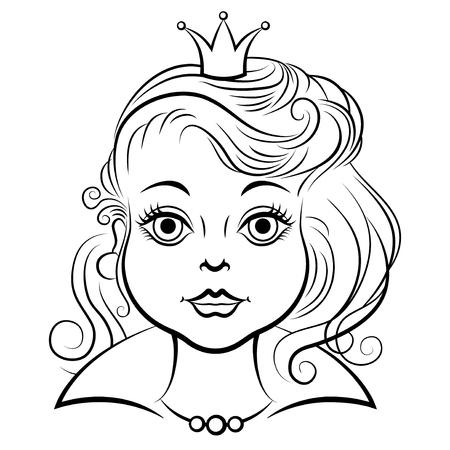 animation teenagers: Vector illustrations of cartoon portrait beautiful princess contour