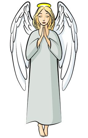 Vector illustrations of cartoon color praying angel