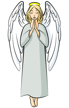 praying angel: Vector illustrations of cartoon color praying angel