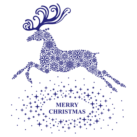 Vector illustrations of Christmas card with reindeer silhouette consisting of blue snowflakes