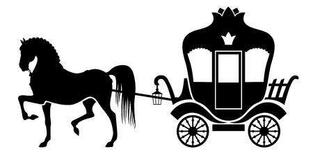 wagon wheel: Vector illustrations of silhouette horse drawn carriage Illustration