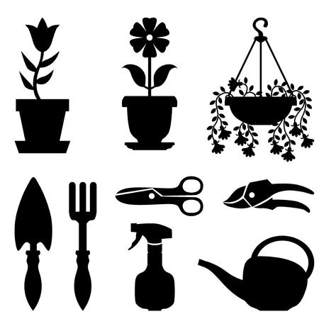 Ilustraciones del vector de la silueta de un conjunto de plantas de maceta y herramientas de la ventana de su cuidado Ilustración de vector