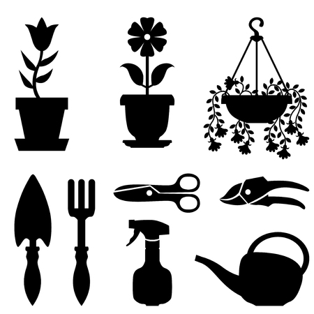pot: Vector illustrations of silhouette set of window pot plants and tools for their care