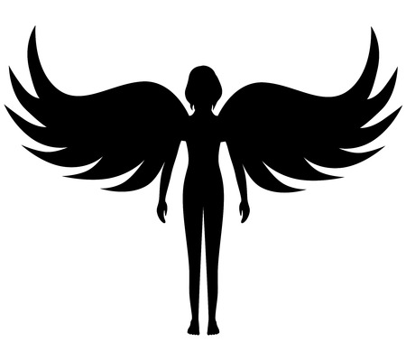 angel illustration: Vector illustrations of silhouette angel with spread wings Illustration
