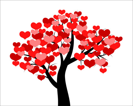 Vector illustrations of tree decorated hearts for Valentines day Çizim