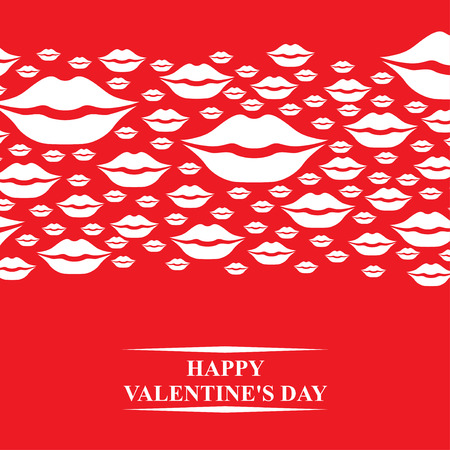 Pink lips: Vector illustrations of Valentines day card with kisses horizontal ornament