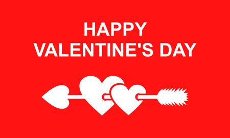 piercing: Vector illustrations of Valentines day greeting card with arrow piercing two hearts on red background