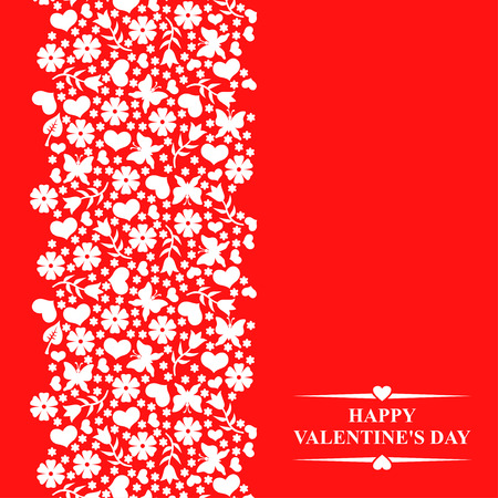 red tulip: Vector illustrations of Valentines day greeting card with decorative floral elements and hearts on red background