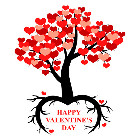 illustrations of tree decorated heartswith roots in the form of heart for Valentines day