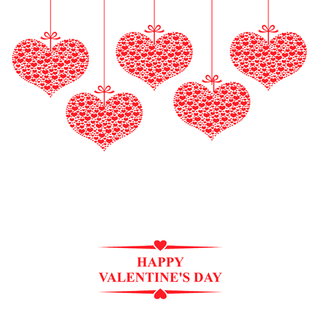 to tie: illustrations of Valentines day card with hanging decorative red hearts of hearts on white background