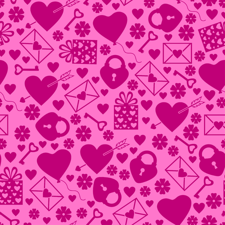 to pierce: illustrations of Valentines day pattern seamless with hearts, balls, gifts and valentines element on pink background