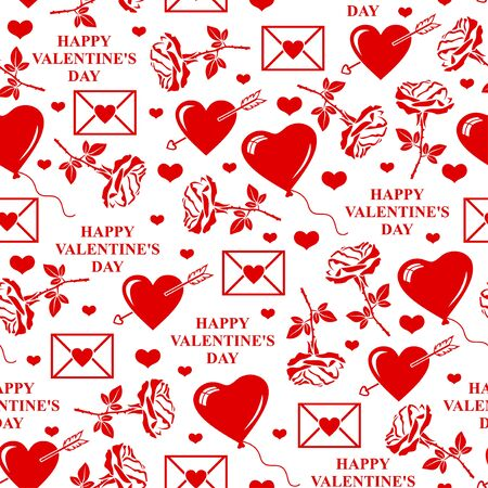 to pierce: illustrations of Valentines day pattern seamless with roses, balls, text and valentines element Illustration