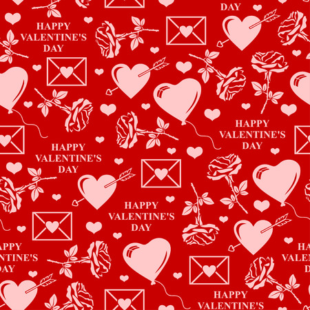 to pierce: illustrations of Valentines day pattern seamless with roses, balls, text and valentines element on red background
