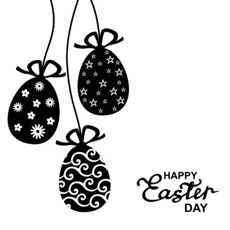 cartoon egg: Vector black and white illustrations of greeting Easter card with hanging patterned eggs