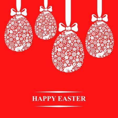 Ilustraciones del vector de la tarjeta de felicitación de Pascua con los huevos colgando decorativos sobre fondo rojo