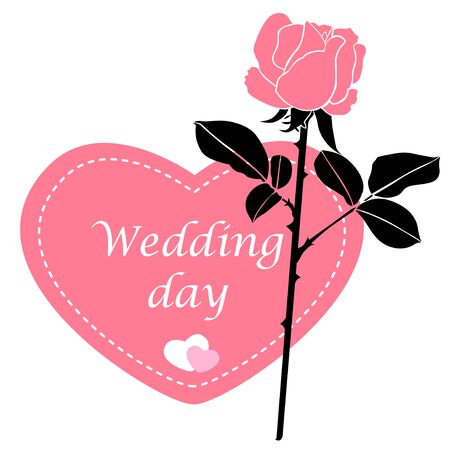 wagging: Vector illustrations of Wagging card in form of heart with pink rose flower Illustration