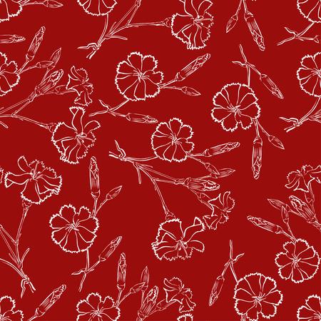 vinous: Vector illustrations of carnation flowers pattern seamless on vinous background