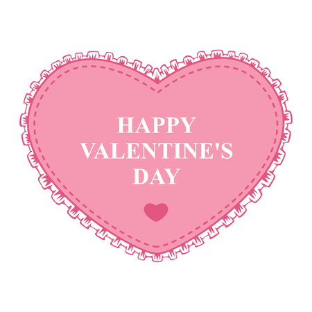 romantic background: Vector illustrations of Valentines day greeting card with pink decorative heart lace