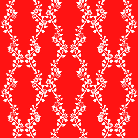 morning glory: Vector illustrations of morning glory flowers pattern seamless on red background Illustration
