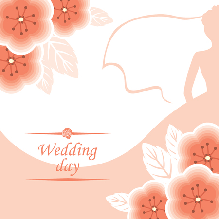 wagging: Vector illustrations of Wagging card with pink flowers bouquet decorated and silhouette bride on background Illustration