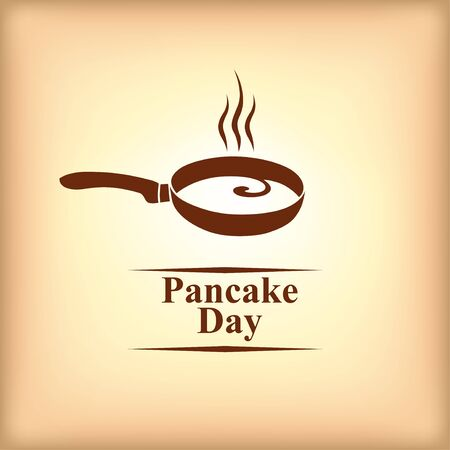 Vector illustrations of Pancake day icon in beige background