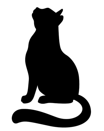 tail: Vector illustrations of silhouette of a cat looking up