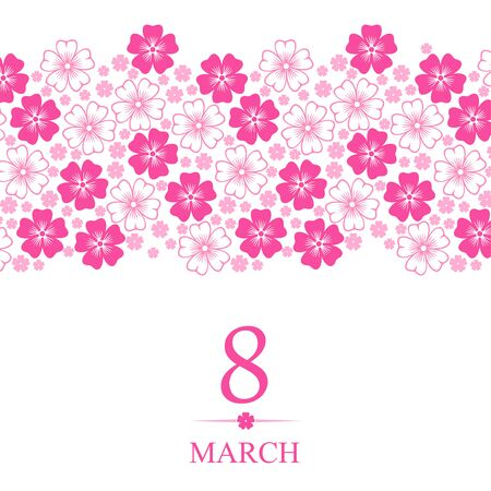 flowers horizontal: Vector illustrations of 8 March card decorated pink flowers horizontal ornament Illustration
