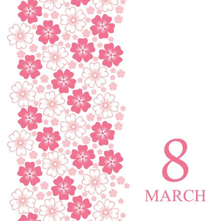 spring flower: Vector illustrations of 8 March card decorated pink flowers vertical ornament Illustration