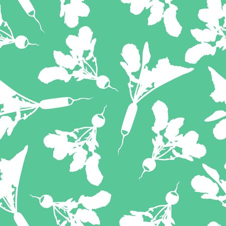 tuber: Vector illustrations of radishes pattern seamless on green background