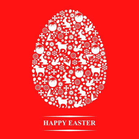 Ilustraciones del vector de la tarjeta de felicitación de Pascua de los huevos de Pascua en forma de símbolos sobre fondo rojo Ilustración de vector