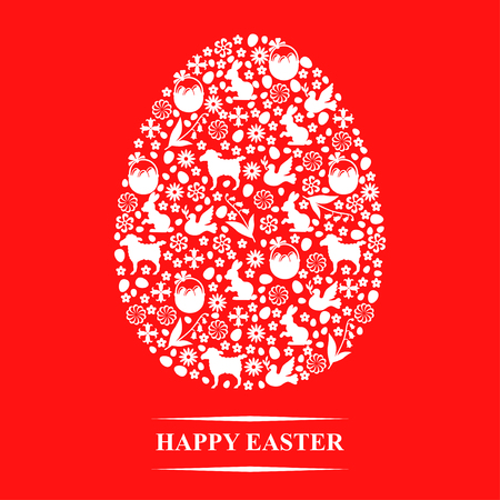 Vector illustrations of Easter greeting card in eggs form of Easter symbols on red background