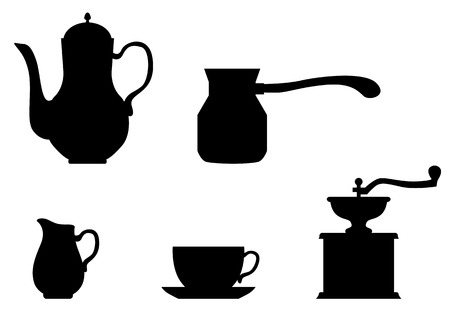 coffeepot: Vector illustrations of set of silhouettes of Appliance Coffee