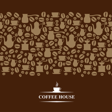 caffeine: Vector illustrations of Coffee house horizontal card on brown background Illustration