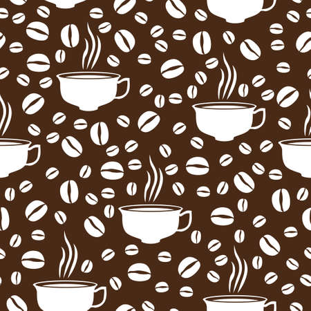 caffeine: Vector illustrations of Coffee break seamless pattern on brown background
