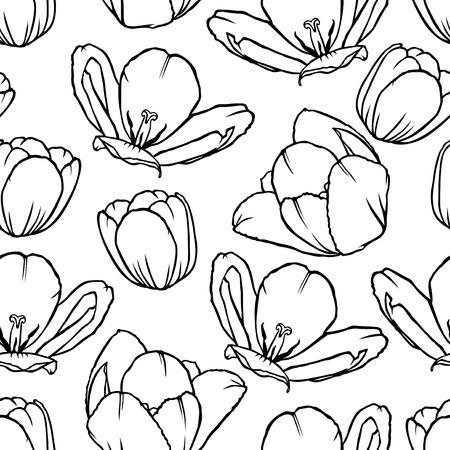 contour: Vector illustrations of contour tulips flowers pattern seamless Illustration