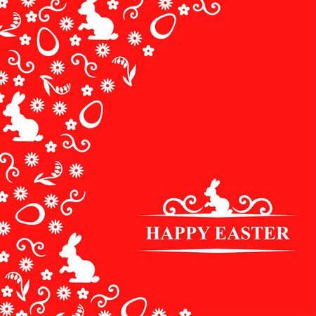 congratulatory: Vector illustrations of Easter congratulatory card with Easter symbol decor and greeting text with bunny on red background Illustration
