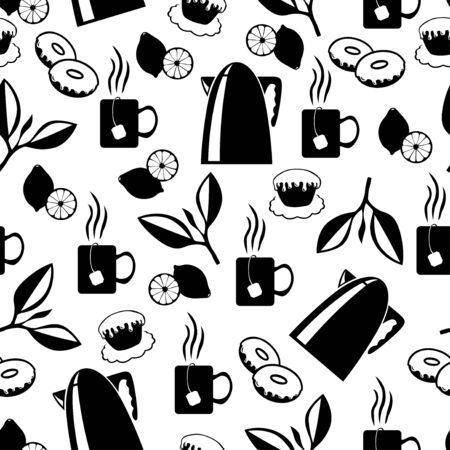 steam of a leaf: Vector illustrations of tea break pattern seamless Illustration