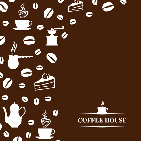 coffee house: Vector illustrations of Coffee house brown background