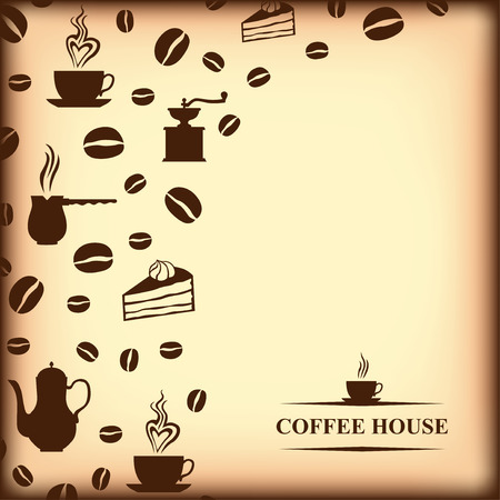 background house: Vector illustrations of Coffee house old paper background Illustration