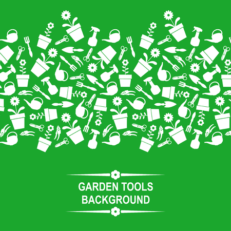 ripper: Vector illustrations of background with silhouette of garden tools on green background