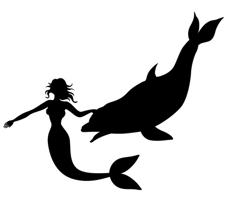 seamaid: Vector illustrations of silhouette of mermaid swimming with dolphin