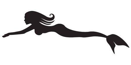 seamaid: Vector illustrations of silhouette of swimming mermaid Illustration