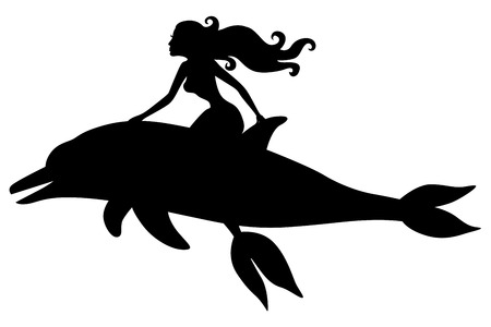 Vector illustrations of silhouette of a mermaid riding a dolphin