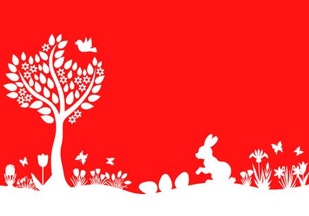 arbol de pascua: Ilustraciones del vector de Pascua paisaje silueta con liebre, huevos, flores y árboles sobre fondo rojo