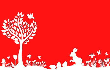 easter background: Vector illustrations of Easter silhouette landscape with hare, eggs, flowers and tree on red background Illustration