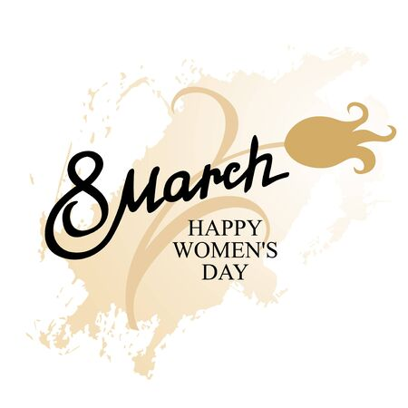 march 8: Vector illustrations of March 8 Women day greeting icon with tulips on grunge spot background Illustration